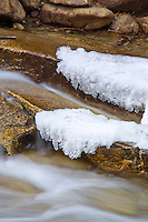 Colorado, winter, Chalk Creek Cascade Falls, icy stream, snow