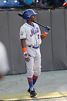 Kingsport Mets outfielder L.A. Woodard (11) in the on deck circle during a game against the Burlington Royals at Burlington Athletic Complex on July 28, 2018 in Burlington, North Carolina. Burlington defeated Kingsport 4-3. (Robert Gurganus/Four Seam Images)