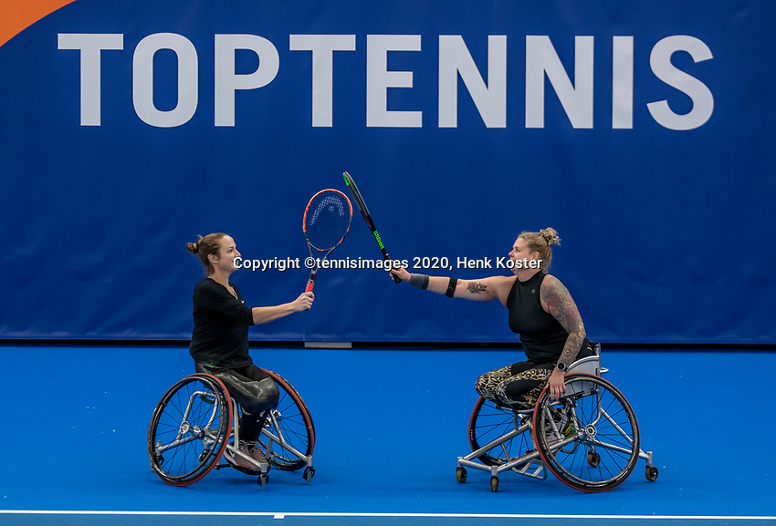 Amstelveen, Netherlands, 12  December, 2020, National Tennis Center, NTC, NKR, National   Indoor Wheelchair Tennis Championships, Women's Doubles Final :  Jiske Griffioen (NED) and Michaela Spaanstra (NED) (R)<br /> Photo: Henk Koster/tennisimages.com