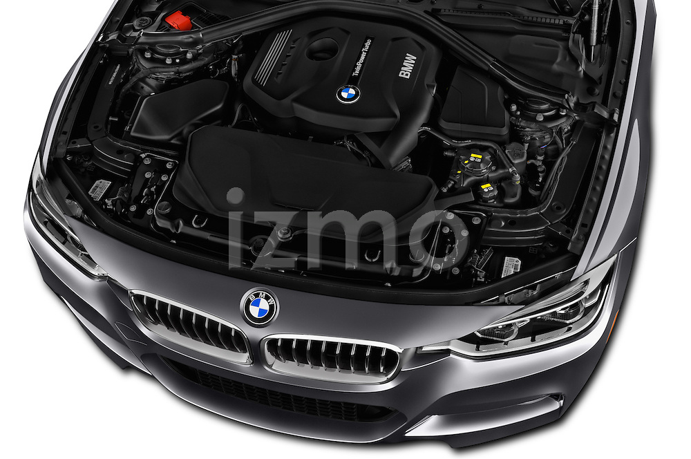 Car Stock 2016 BMW 3-Series 328i-xDrive-Sports-Wagon 5 Door Wagon Engine  high angle detail view