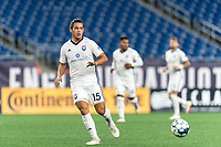 FOXBOROUGH, MA - SEPTEMBER 5: Kristofer Strickler #15 of Tormenta FC passes the ball during a game between Tormenta FC and New England Revolution II at Gillette Stadium on September 5, 2021 in Foxborough, Massachusetts.