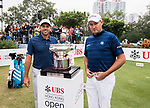 Sam Brazel (r) of Australia and Sergio Garcia of Spain pose with the trophy before teeing off during the day four of UBS Hong Kong Open 2017 at the Hong Kong Golf Club on 26 November 2017, in Hong Kong, Hong Kong. Photo by Marcio Rodrigo Machado / Power Sport Images