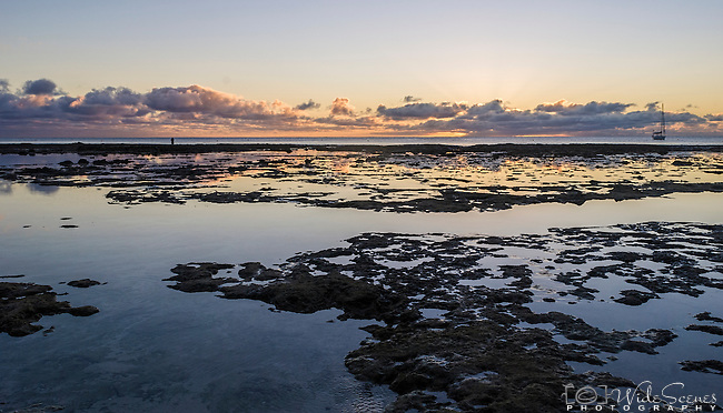 Sunset on the reef on the island of Niue
