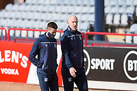 13th March 2021; Dens Park, Dundee, Scotland; Scottish Championship Football, Dundee FC versus Arbroath; Cammy Kerr and Charlie Adam of Dundee inspect the pitch before the match
