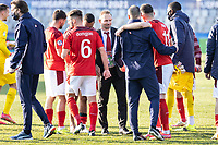 25th March 2021; Stadium Bonifika, Obalno-kraska Slovenia; U-21 European Championships, England versus Switzerland, Group stages;  Switzerland Head Coach Mauro Lustrinelli congratulates his team after the win over England