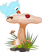 Vector illustration of a cute blue bird sitting on Mushroom top looking curiously at a ladybug.<br /> <br /> This image is also available as scalable EPS and PNG format (with transparent background).
