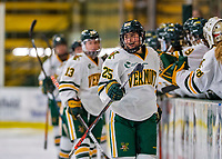 9 February 2020: University of Vermont Catamount Forward Alyssa Holmes, a Junior from Burlington, Ontario, celebrates a first period goal against the University of Connecticut Huskies at Gutterson Fieldhouse in Burlington, Vermont. The Lady Cats defeated the Huskies 6-2 in the second game of their weekend Hockey East series. Mandatory Credit: Ed Wolfstein Photo *** RAW (NEF) Image File Available ***