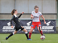 Tiffanie Vanderdonckt (5) of Eendracht Aalst and Geena Lisa Buyle (13) of Zulte-Waregem in action  during a female soccer game between SV Zulte - Waregem and Eendracht Aalst on the 9 th matchday in play off 2 of the 2020 - 2021 season of Belgian Scooore Womens Super League , saturday 22 nd of May 2021  in Zulte , Belgium . PHOTO SPORTPIX.BE   SPP   DIRK VUYLSTEKE