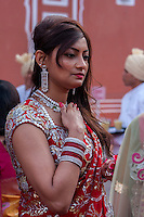 Jaipur, Rajasthan, India.  Young Rajasthani Woman in Sari with Jewelry, at Wedding Reception.