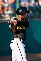 San Jose Giants shortstop Manuel Gerardo (26) during a California League game against the Visalia Rawhide on April 13, 2019 at San Jose Municipal Stadium in San Jose, California. Visalia defeated San Jose 4-2. (Zachary Lucy/Four Seam Images)