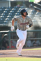 Braxton Martinez (23) of the Inland Empire 66ers runs to first base during a game against the Stockton Ports at San Manuel Stadium on June 27 2021 in San Bernardino, California. (Larry Goren/Four Seam Images)