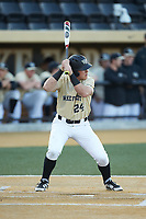 Chris Lanzilli (24) of the Wake Forest Demon Deacons at bat against the Liberty Flames at David F. Couch Ballpark on April 25, 2018 in  Winston-Salem, North Carolina.  The Demon Deacons defeated the Flames 8-7.  (Brian Westerholt/Four Seam Images)
