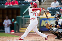 Thomas Pham #27 of the Springfield Cardinals follows through his swing during a game against the Tulsa Drillers at Hammons Field on May 7, 2013 in Springfield, Missouri. (David Welker/Four Seam Images)