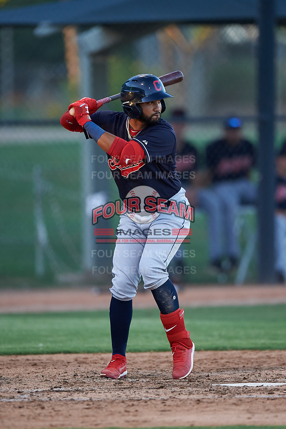 AZL Indians Blue Aaron Bracho (7) at bat during an Arizona League game against the AZL White Sox on July 2, 2019 at Camelback Ranch in Glendale, Arizona. The AZL Indians Blue defeated the AZL White Sox 10-8. (Zachary Lucy/Four Seam Images)