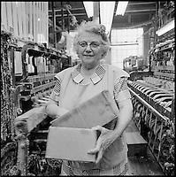 narrow fabric weaver, Arbeka Webbing, Pawtucket, RI 1974