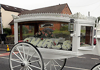"COPY BY TOM BEDFORD<br /> Pictured: The horse-drawn white carriage and the funeral cortege leaves from the family home in Merthyr Tydfil, Wales, UK. Friday 18 August 2017<br /> Re: The funeral of a toddler who died after a parked Range Rover's brakes failed and it hit a garden wall which fell on top of her will be held today at Jerusalem Baptist Chapel in Merthyr Tydfil.<br /> One year old Pearl Melody Black and her eight-month-old brother were taken to hospital after the incident in south Wales.<br /> Pearl's family, father Paul who is The Voice contestant and mum Gemma have said she was ""as bright as the stars""."