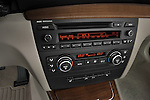 Stereo audio system close up detail view of a 2007 - 2011 BMW 1-Series 128i convertible.