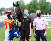 Winner of The Crouch's Down Maiden Auction Fillies Stakes Crazy Luck ridden by Oisin Murphy and trained by Rod Millman in the Winners enclosure during Horse Racing at Salisbury Racecourse on 13th August 2020