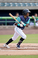 Shortstop Angel Martinez (13) of the Lynchburg Hillcats in a game against the Delmarva Shorebirds on Wednesday, August 11, 2021, at Bank of the James Stadium in Lynchburg, Virginia. (Tom Priddy/Four Seam Images)