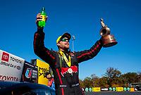 Oct 14, 2019; Concord, NC, USA; NHRA pro stock driver Deric Kramer celebrates after winning the Carolina Nationals at zMax Dragway. Mandatory Credit: Mark J. Rebilas-USA TODAY Sports