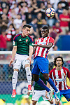 Alex Berenguer Remiro of Osasuna (L) and Thomas Teye Partey of Atletico de Madrid (R) in action during the La Liga match between Atletico de Madrid vs Osasuna at Estadio Vicente Calderon on 15 April 2017 in Madrid, Spain. Photo by Diego Gonzalez Souto / Power Sport Images
