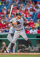 29 July 2017: Colorado Rockies first baseman Mark Reynolds in action against the Washington Nationals at Nationals Park in Washington, DC. The Rockies defeated the Nationals 4-2 in the first game of their 3-game weekend series. Mandatory Credit: Ed Wolfstein Photo *** RAW (NEF) Image File Available ***