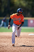Baltimore Orioles Gerrion Grim (98) runs the bases during a minor league Spring Training game against the Minnesota Twins on March 17, 2017 at the Buck O'Neil Baseball Complex in Sarasota, Florida.  (Mike Janes/Four Seam Images)