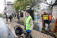 NO REPRO FEE. 24/10/2011. VOTE NO TO 30TH AMENDMENT. Ivana batchik and protesters in Kangaroo outfits (keeping with the 'Kangaroo courts' theme of the campaign) are pictured outside Leinster House on Kildare Street Dublin handing out referendum leaflets. learn more at www.kangaroocourts.net. for more information please contact Walter Jayawardene.Irish Council for Civil Liberties.Tel. + 353 1 799 4503 Mob: +353 87 9981574E-mail walter.jayawardene@iccl.iePicture James Horan/Collins Photos