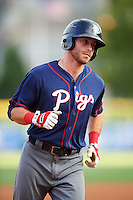 Lehigh Valley IronPigs third baseman Taylor Featherston (6) runs the bases after hitting a home run during a game against the Buffalo Bisons on July 9, 2016 at Coca-Cola Field in Buffalo, New York.  Lehigh Valley defeated Buffalo 9-1 in a rain shortened game.  (Mike Janes/Four Seam Images)