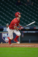 Landon Etzel (7) of the Houston Cougars starts down the first base line against the Vanderbilt Commodores during game nine of the 2018 Shriners Hospitals for Children College Classic at Minute Maid Park on March 3, 2018 in Houston, Texas. The Commodores defeated the Cougars 9-4. (Brian Westerholt/Four Seam Images)