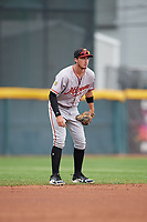 Altoona Curve shortstop Brett Pope (3) during an Eastern League game against the Erie SeaWolves on June 5, 2019 at UPMC Park in Erie, Pennsylvania.  Altoona defeated Erie 6-2.  (Mike Janes/Four Seam Images)