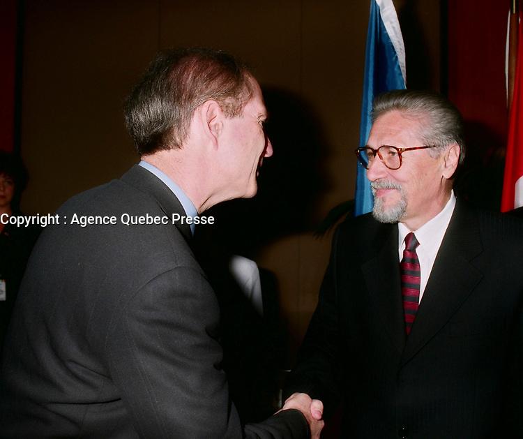 Emil Constantinescu, mai<br /> 1998<br /> <br /> PHOTO :  Agence Quebec Presse