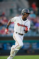 Rochester Red Wings second baseman Nick Gordon (1) runs to first base during a game against the Lehigh Valley IronPigs on June 30, 2018 at Frontier Field in Rochester, New York.  Lehigh Valley defeated Rochester 6-2.  (Mike Janes/Four Seam Images)