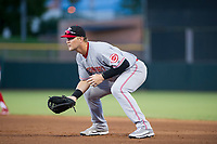 AZL Reds first baseman Justin Bellinger (57) on defense against the AZL Giants on August 12, 2017 at Scottsdale Stadium in Scottsdale, Arizona. AZL Giants defeated the AZL Reds 1-0. (Zachary Lucy/Four Seam Images)