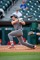 Lehigh Valley IronPigs first baseman Matt McBride (30) follows through on a swing during a game against the Buffalo Bisons on June 23, 2018 at Coca-Cola Field in Buffalo, New York.  Lehigh Valley defeated Buffalo 4-1.  (Mike Janes/Four Seam Images)