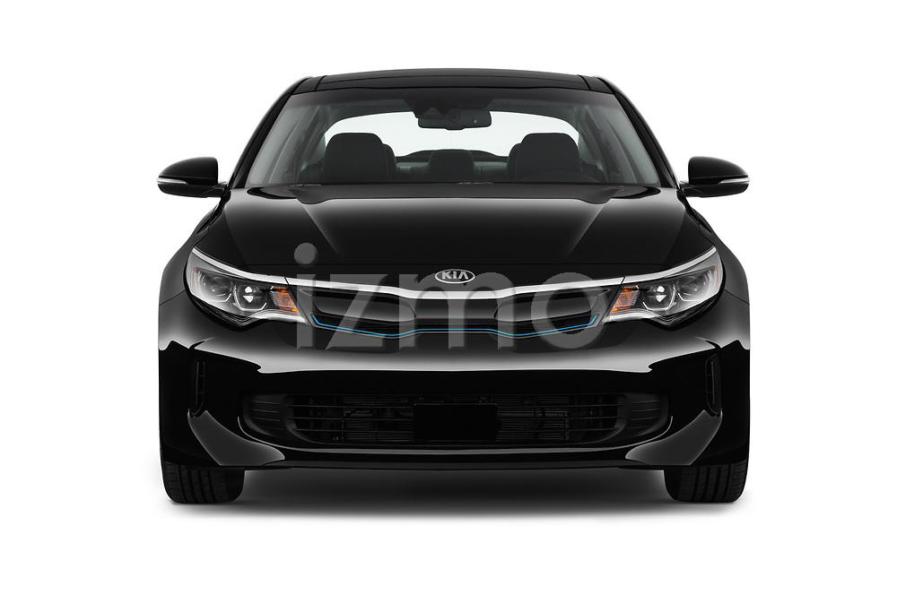 Car photography straight front view of a 2019 KIA Optima Plug-In Hybrid EX 4 Door Sedan