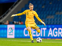 LE HAVRE, FRANCE - APRIL 13: Pauline Peyraud-Magnin #21 of France passes the ball during a game between France and USWNT at Stade Oceane on April 13, 2021 in Le Havre, France.