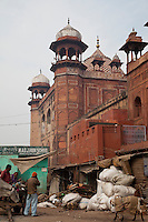 Agra, India.  Jama Masjid, the Friday Mosque, built 1648, adjacent to the Kinari Bazaar.