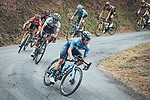 The main bunch with Miguel Angel Lopez Moreno (COL) Movistar Team, Egan Bernal (COL) Ineos Grenadiers, Primoz Roglic (SLO) Jumbo-Visma and Adam Yates (GBR) Ineos Grenadiers descending during Stage 18 of La Vuelta d'Espana 2021, running 162.6km from Salas to Alto del Gamoniteiru, Spain. 2nd September 2021.   <br /> Picture: Cxcling   Cyclefile<br /> <br /> All photos usage must carry mandatory copyright credit (© Cyclefile   Cxcling)