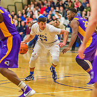 22 November 2015: Yeshiva University Maccabee Forward Shelby Rosenberg, a Senior from Woodmere, NY, drives for a layup in the second half of NCAA Men's Basketball play against the Hunter College Hawks at the Max Stern Athletic Center  in New York, NY. The Maccabees defeated the Hawks 81-71 in non-conference play, for their second win of the season. Mandatory Credit: Ed Wolfstein Photo *** RAW (NEF) Image File Available ***