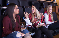 """Phoenix, AZ - December 11, 2015:  Julie Johnston was invited by the Phoenix Coyotes to start their game with the """"Top Dog Howl of the Game"""" at Gila River Arena."""