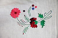 Dehradun, Uttarakhand, India.  Embroidery Work done by Indian Muslim Woman.