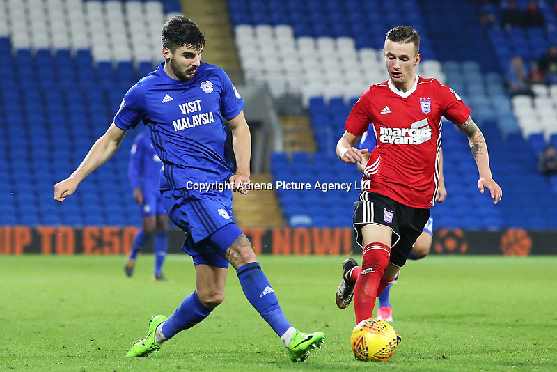 Callum Paterson of Cardiff City is marked by Bersant Celina of Ipswich during the Sky Bet Championship match between Cardiff City and Ipswich Town at The Cardiff City Stadium, Cardiff, Wales, UK. Tuesday 31 October 2017