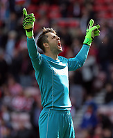 SUNDERLAND, ENGLAND - MAY 13: Lukasz Fabianski of Swansea City celebrates his team's win during the Premier League match between Sunderland and Swansea City at the Stadium of Light, Sunderland, England, UK. Saturday 13 May 2017
