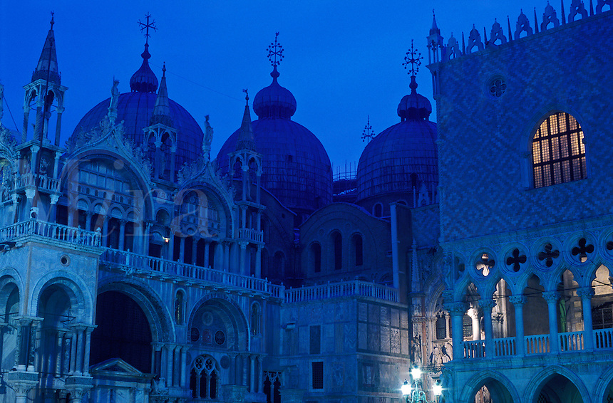 Italy, Venice, Baslica San Marco and the Doge's Palace (Palazzo Ducale) at dawn in blue tones. Piazza San Marco