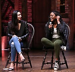 """Lauren Boyd and Johanna Moise during the Q & A before The Rockefeller Foundation and The Gilder Lehrman Institute of American History sponsored High School student #EduHam matinee performance of """"Hamilton"""" at the Richard Rodgers Theatre on 4/03/2019 in New York City."""