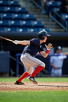 Lowell Spinners second baseman Grant Williams (11) follows through on a swing during a game against the Staten Island Yankees on August 22, 2018 at Richmond County Bank Ballpark in Staten Island, New York.  Staten Island defeated Lowell 10-4.  (Mike Janes/Four Seam Images)