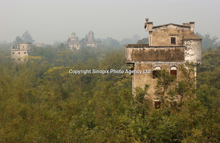 """Ma Jiang Long town near Kaiping city in Guangdong Province, China. The European style """"towers"""" and mansions were built by....  overseas Chinese returning with architectural ideas from America and Europe. The area is .one of the World Heritage Site.."""