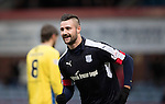 Dundee v St Johnstone….31.12.16     Dens Park    SPFL<br />Marcus Haber celebrates Steven Anderson's own goal<br />Picture by Graeme Hart.<br />Copyright Perthshire Picture Agency<br />Tel: 01738 623350  Mobile: 07990 594431