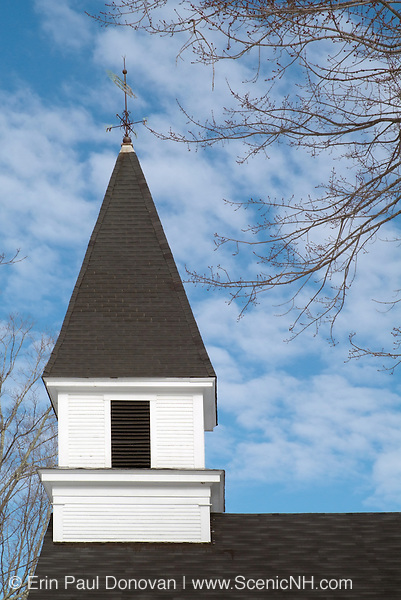 Union Church (1850) located next to the Oliver Sanborn Memorial Library and  Samuel and Peter Sargent Cooperage Shop in the historical district of North Danville, New Hampshire, USA, which is part of New England